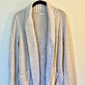 UO Chunky Knit Beige Cardigan Sweater
